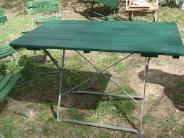 Design For Wooden Picnic Table by Reclaimed Wooden Top Painted With Dark Green Color For Outdoor