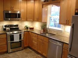 kitchen great d design with brown cabinet beige l shape countertop