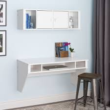 White Desk And Hutch by Prepac Designer Floating Desk In White Beyond Stores