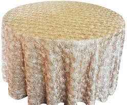 Wedding Table Clothes Champagne 132 Inch Rosette Satin Tablecloths Round Wedding