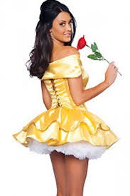 Sexu Halloween Costumes Womens Halloween Belle Beauty Beast Fairytale Costume Gold