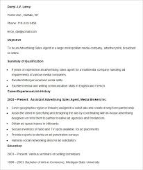Sales Agent Resume Sample by Advertising Resume Template U2013 16 Free Samples Examples Format