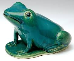 bendigo pottery frog green australian pottery winter