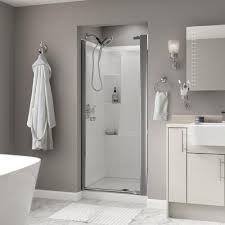 Satin Glass Shower Door by Foremost Tides 31 In To 33 In X 65 In Framed Pivot Shower Door