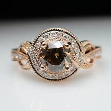 brown diamond engagement ring cognac brown diamond gold engagement ring vintage
