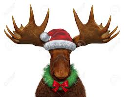 Holiday Wreath Christmas Moose With Santa Clause Hat And A Holiday Wreath With