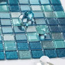Backsplash Tile Blue Stainless Steel Mosaic Tile Decor Mesh Glass - Blue glass tile backsplash