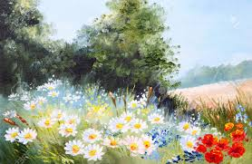 oil painting landscape meadow of daisies nature stock photo