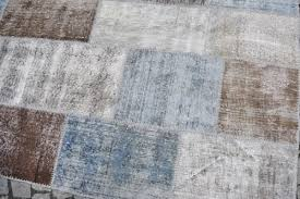 6x9 ft 183x275 cm faded blue brown gray turquoise patchwork