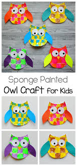 printable owl art sponge painted owl craft for kids with owl template buggy and buddy