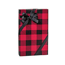 black wrapping paper and black christmas buffalo plaid christmas gift