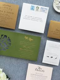 modern lasercut olive and gold foil wedding invitations
