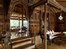 minimalist traditional balinese home design with wooden pillars on