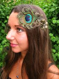 peacock featherbutterfly fascinator for steunk boho and festive