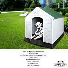 xl weatherproof plastic dog kennel pet puppy outdoor indoor garden