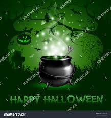 green halloween background halloween night background magic potion cauldron stock vector