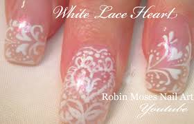 valentine nails white lace heart nail design tutorial youtube