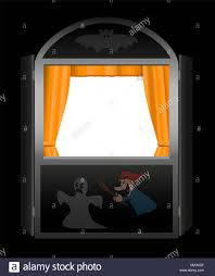 background for halloween photo booth puppet show booth with empty viewing window spooky halloween