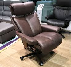 stressless magic paloma chocolate leather office desk chair by