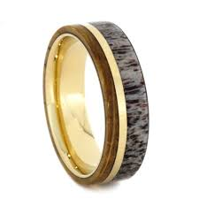 wood rings wedding whiskey barrel oak wood ring with deer antler in 14k yellow gold