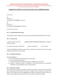 location de chambre exemple de contrat de sous location d une chambre meublee suisse