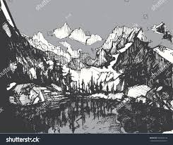 hand drawn sketch mountains landscape lake stock vector 636404210