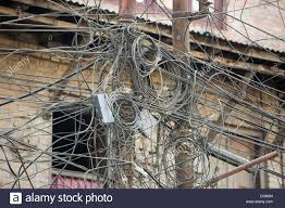 a tangle of electricity wires in kathmandu nepal stock photo