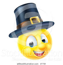 vector illustration of a 3d thanksgiving pilgrim yellow smiley emoji