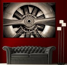 wall art propeller airplane engine picture black white canvas zoom