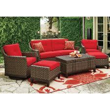 White Wicker Patio Furniture - red cushion wicker patio furniture with travertine tiles design