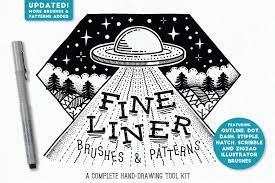 pattern drawing illustrator fine liner brushes patterns brushes creative market
