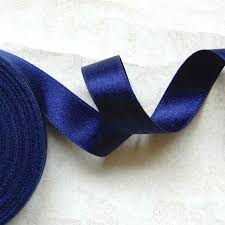 navy blue satin ribbon faced silk satin ribbon mille
