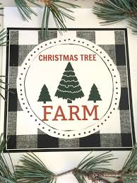 christmas tree farm black and white buffalo plaid printable