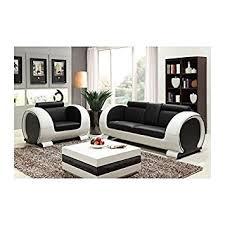 canapé et fauteuil en cuir canapé fauteuil cuir vachette noir blanc amazon fr