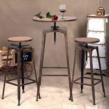 Vintage Bistro Chairs 3pc Industrial Vintage Metal Design Bistro Set Adjustable High Bar