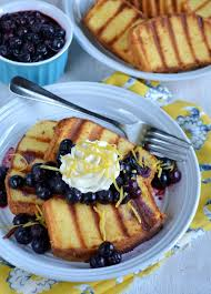 grilled pound cake with lemon honey and blueberry compote