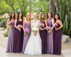 wedding bridesmaid dresses and bridesmaids in dresses in shades of purple photography