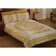 Gold Bedding Sets Classic Medusa Logo Satin White And Gold Bedding Set