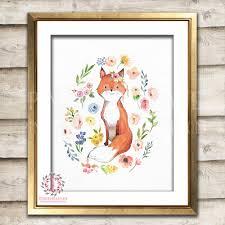 Fox Home Decor by Boho Fox Watercolor Bohemian Blush Floral Woodland Nursery Baby