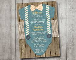 boy baby shower invitation blue little man bow tie suspenders