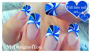 blue french tip nail art how to geometric nail design