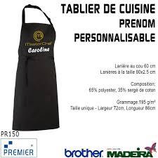 tablier de cuisine personnalisable broderie tablier de cuisine noir masterchef prenom