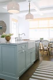 White Kitchen Island Lighting Inspiring White Kitchen With Light Blue Island Home Bunch