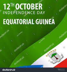 Green Day Flag Independence Day Equatorial Guinea Flag Patriotic Stock Vector