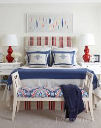 a charming nantucket abode lauren nelson blue and red bedroom