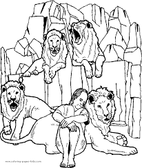 Daniel In The Lion S Den Color Page Free Printable Coloring Children Bible Stories Coloring Pages