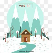 house and snowman png material under winter snows creative