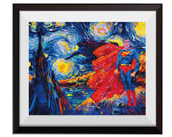Superman Room Decor by Superhero Superman Van Gogh Starry Nightcartoon And Tale Wall