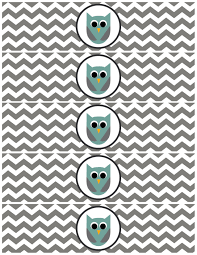 free printable owl water bottle labels paper trail design