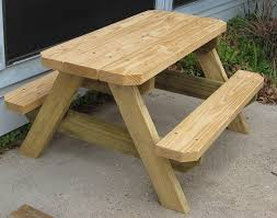 Plans For Wooden Picnic Tables by Kids Picnic Table Made By E Renshaw